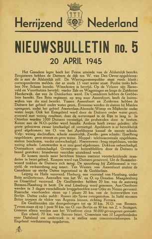 Nieuwsbulletin gemeente Hoogezand nl 1945-04-20