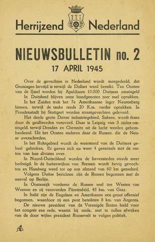 Nieuwsbulletin gemeente Hoogezand nl 1945-04-17