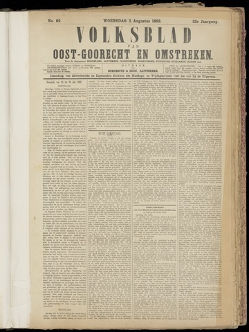 (Volksblad) Oost-Goorecht en Omstreken nl 1892-08-03