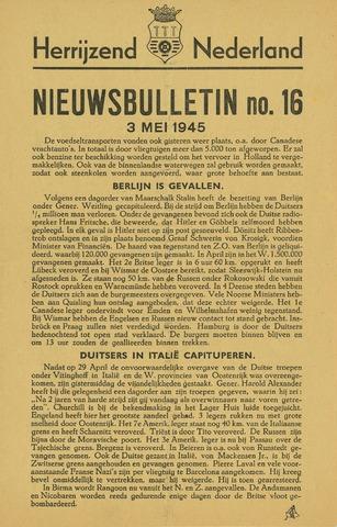 Nieuwsbulletin gemeente Hoogezand nl 1945-05-03