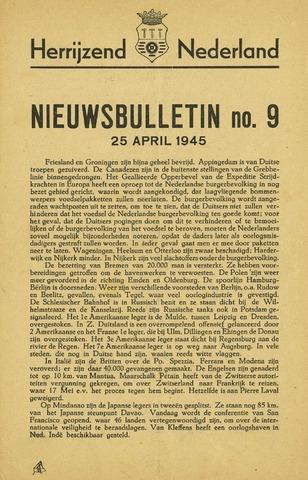 Nieuwsbulletin gemeente Hoogezand nl 1945-04-25