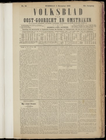 (Volksblad) Oost-Goorecht en Omstreken nl 1892-11-02