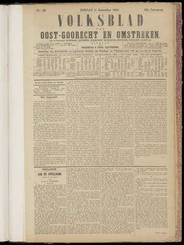 (Volksblad) Oost-Goorecht en Omstreken nl 1892-12-11