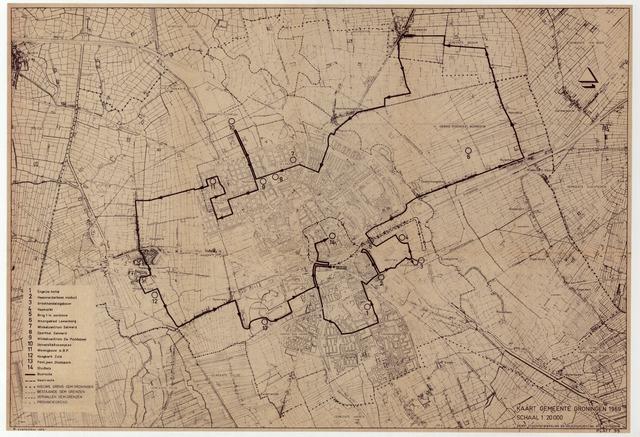 Kaart Gemeente Groningen 1969 Plattegrond Van De Gemeente