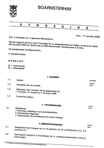 Boarnsterhim vergaderstukken gemeenteraad  2006-11-28