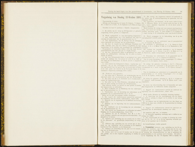 Raadsverslagen van de gemeente Leeuwarden, 1865-2007 (Notulen) 1891-10-13