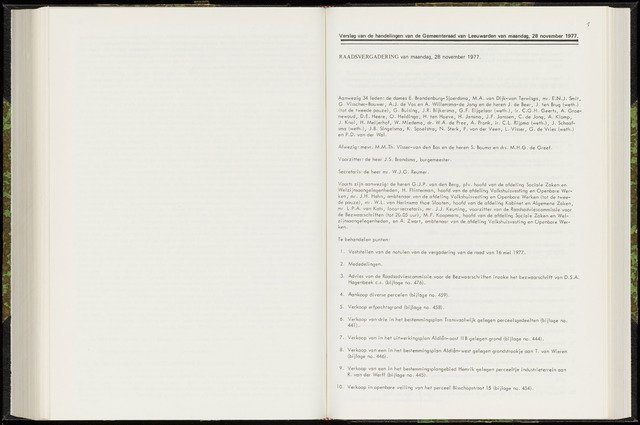 Raadsverslagen van de gemeente Leeuwarden, 1865-2007 (Notulen) 1977-11-28