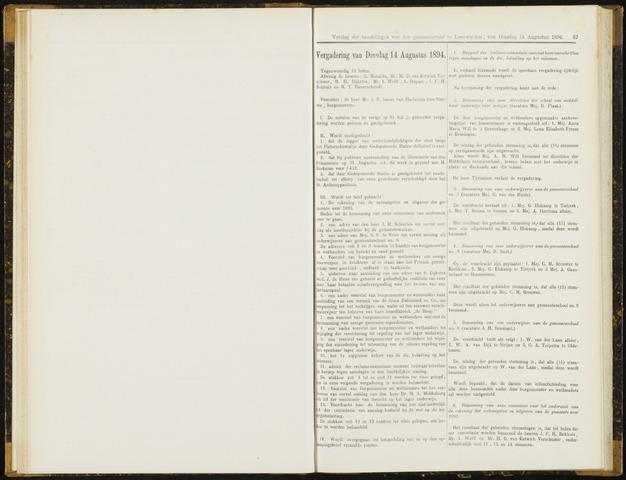 Raadsverslagen van de gemeente Leeuwarden, 1865-2007 (Notulen) 1894-08-14