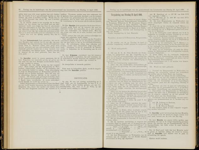 Raadsverslagen van de gemeente Leeuwarden, 1865-2007 (Notulen) 1908-04-28