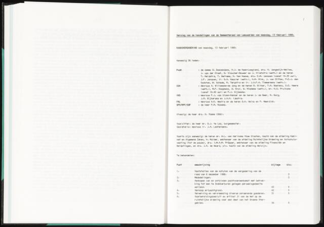 Raadsverslagen van de gemeente Leeuwarden, 1865-2007 (Notulen) 1989-02-13