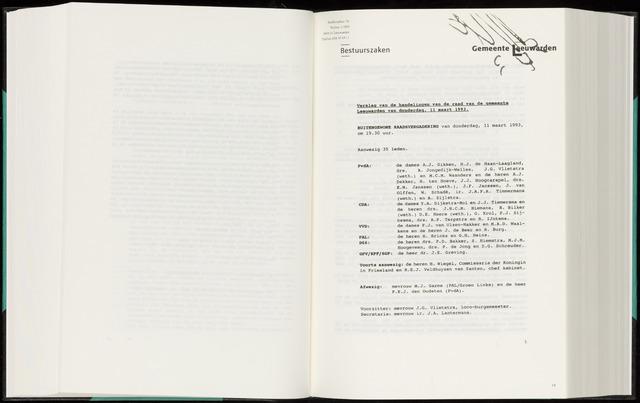 Raadsverslagen van de gemeente Leeuwarden, 1865-2007 (Notulen) 1993-03-11