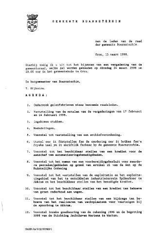 Boarnsterhim vergaderstukken gemeenteraad  1998-03-24