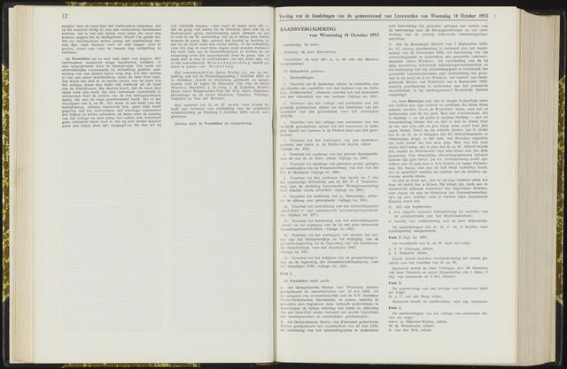 Raadsverslagen van de gemeente Leeuwarden, 1865-2007 (Notulen) 1953-10-14
