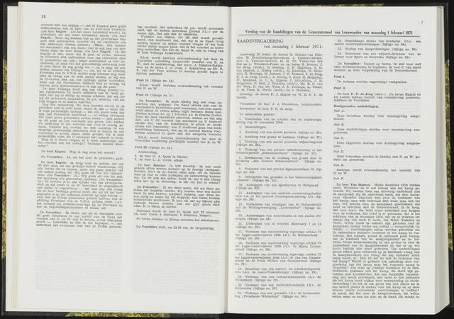 Raadsverslagen van de gemeente Leeuwarden, 1865-2007 (Notulen) 1971-02-01