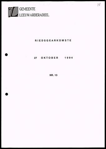 Notulen van de gemeenteraad van Leeuwarderadeel 1994-10-27