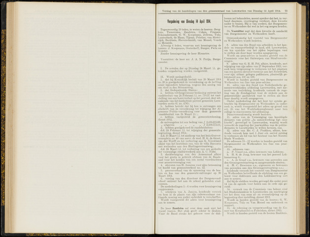 Raadsverslagen van de gemeente Leeuwarden, 1865-2007 (Notulen) 1914-04-14