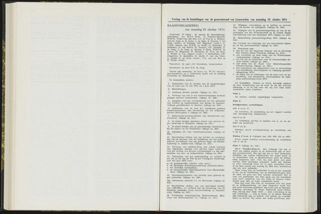 Raadsverslagen van de gemeente Leeuwarden, 1865-2007 (Notulen) 1974-10-28