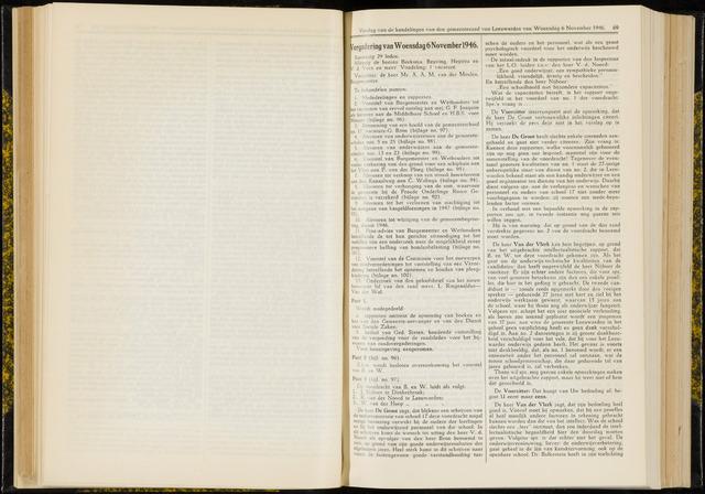 Raadsverslagen van de gemeente Leeuwarden, 1865-2007 (Notulen) 1946-11-06