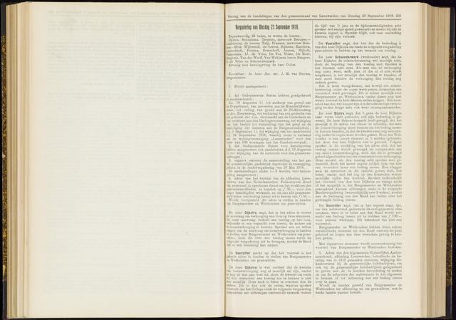 Raadsverslagen van de gemeente Leeuwarden, 1865-2007 (Notulen) 1919-09-23
