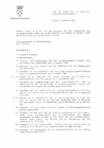 Boarnsterhim vergaderstukken gemeenteraad  1985-10-15