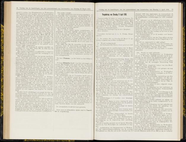 Raadsverslagen van de gemeente Leeuwarden, 1865-2007 (Notulen) 1916-04-11
