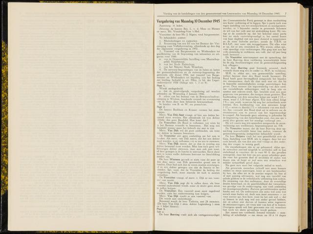 Raadsverslagen van de gemeente Leeuwarden, 1865-2007 (Notulen) 1945-12-10