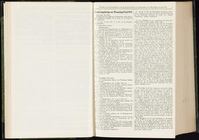 Raadsverslagen van de gemeente Leeuwarden, 1865-2007 (Notulen) 1951-07-18