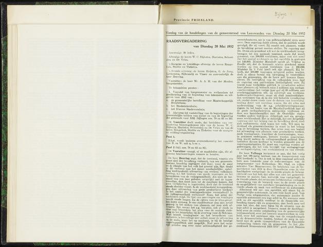 Raadsverslagen van de gemeente Leeuwarden, 1865-2007 (Notulen) 1952-05-20