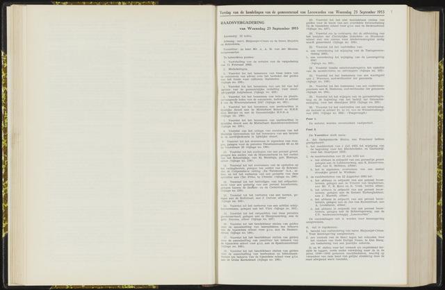Raadsverslagen van de gemeente Leeuwarden, 1865-2007 (Notulen) 1953-09-23