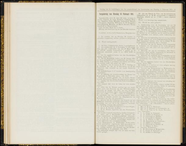 Raadsverslagen van de gemeente Leeuwarden, 1865-2007 (Notulen) 1911-02-14