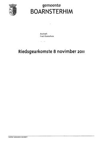 Boarnsterhim vergaderstukken gemeenteraad  2011-11-08
