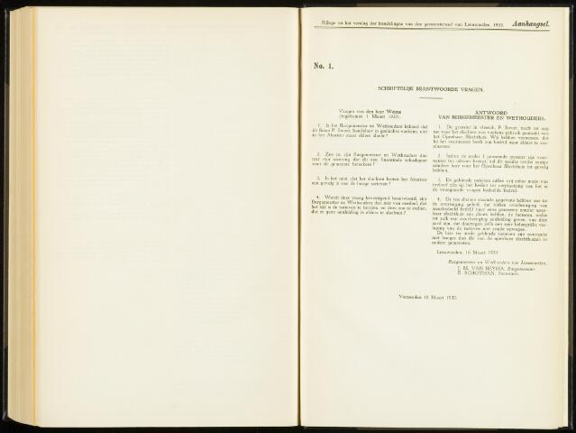 Raadsverslagen van de gemeente Leeuwarden, 1865-2007 (Schriftelijke vragen) 1933-01-01
