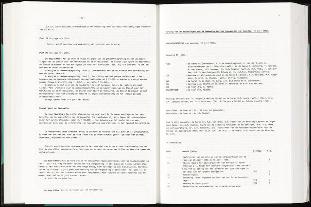 Raadsverslagen van de gemeente Leeuwarden, 1865-2007 (Notulen) 1988-07-11