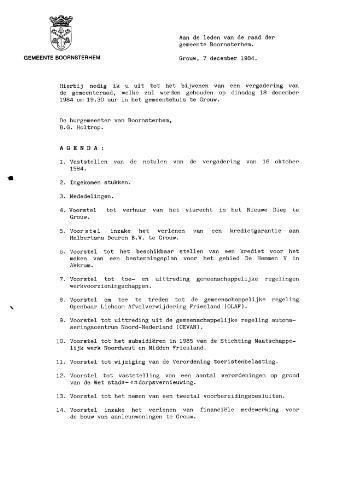 Boarnsterhim vergaderstukken gemeenteraad  1984-12-18