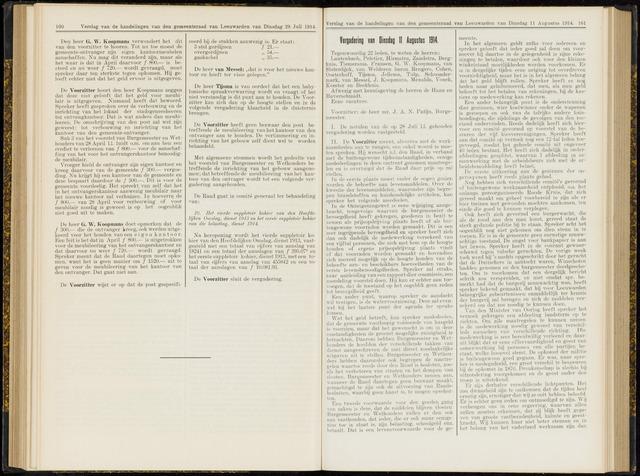 Raadsverslagen van de gemeente Leeuwarden, 1865-2007 (Notulen) 1914-08-11