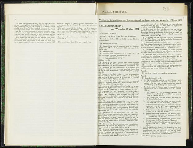 Raadsverslagen van de gemeente Leeuwarden, 1865-2007 (Notulen) 1952-03-12