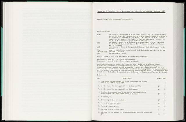 Raadsverslagen van de gemeente Leeuwarden, 1865-2007 (Notulen) 1987-09-07