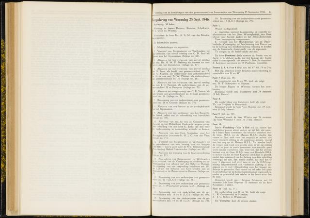 Raadsverslagen van de gemeente Leeuwarden, 1865-2007 (Notulen) 1946-09-25