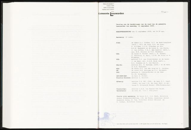 Raadsverslagen van de gemeente Leeuwarden, 1865-2007 (Notulen) 2000-09-11