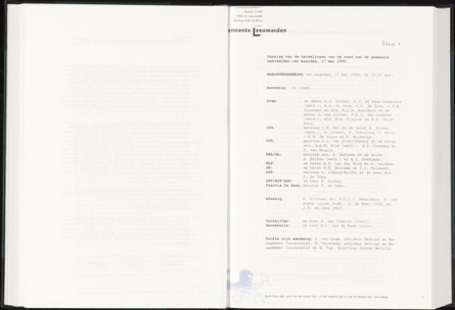 Raadsverslagen van de gemeente Leeuwarden, 1865-2007 (Notulen) 1999-05-17