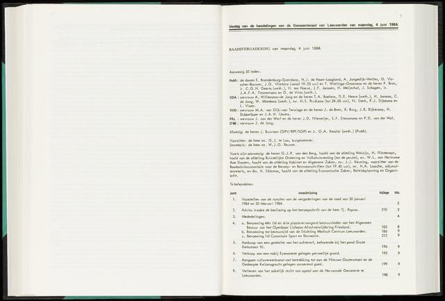 Raadsverslagen van de gemeente Leeuwarden, 1865-2007 (Notulen) 1984-06-04