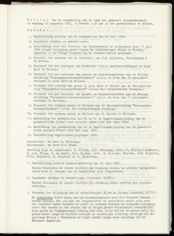 Notulen van de gemeenteraad van Leeuwarderadeel 1966-08-29