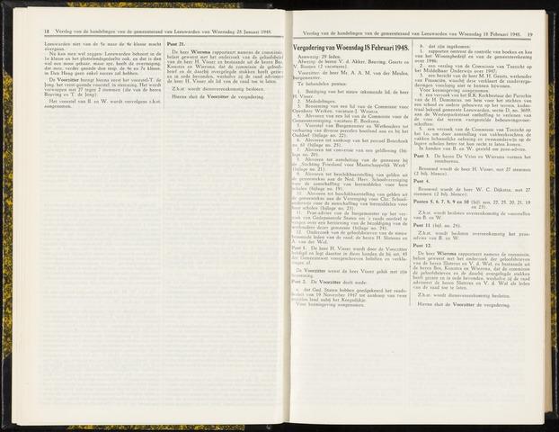 Raadsverslagen van de gemeente Leeuwarden, 1865-2007 (Notulen) 1948-02-18