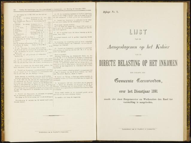 Raadsverslagen van de gemeente Leeuwarden, 1865-2007 (Bijlagen) 1891-01-01