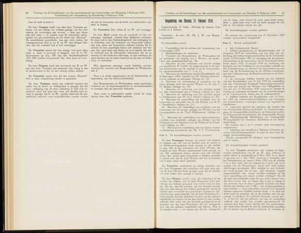Raadsverslagen van de gemeente Leeuwarden, 1865-2007 (Notulen) 1936-02-25