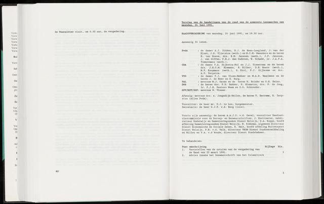 Raadsverslagen van de gemeente Leeuwarden, 1865-2007 (Notulen) 1991-06-24