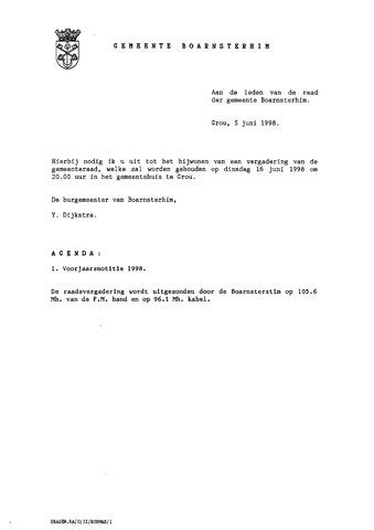 Boarnsterhim vergaderstukken gemeenteraad  1998-06-16
