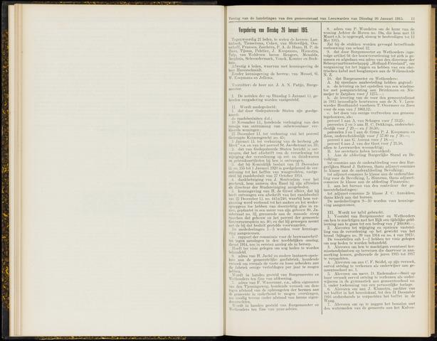 Raadsverslagen van de gemeente Leeuwarden, 1865-2007 (Notulen) 1915-01-26