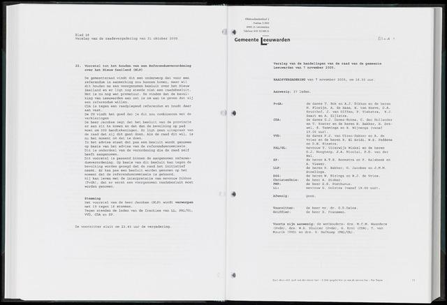 Raadsverslagen van de gemeente Leeuwarden, 1865-2007 (Notulen) 2005-11-07