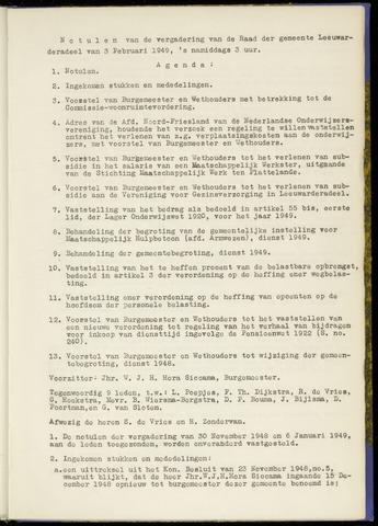 Notulen van de gemeenteraad van Leeuwarderadeel 1949-02-03